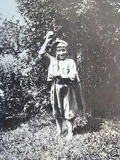 RPPC PEOPLE, CHILD IN BASEBALL UNIFORM WIND-UP BALL 1920 REAL AZO PHOTO POSTCARD