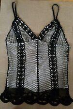 Adolfo Dominguez Women's XS Silk Tank Top blouse lace satin Black White EUC
