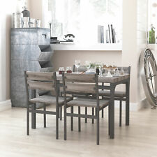 Zenvida 5 Piece Dining Set / Breakfast Nook, Table and 4 Chairs, Rustic Grey