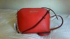 NWT MICHAEL KORS CINDY Large DOME Bright Red Leather Crossbody Shoulder Bag $188