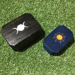 Shaman / Pagan Altar Wooden Boxes 1 x Triple Moon and 1 x Sun Hand-painted