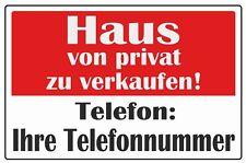 """wetterfestes Schild: """"Haus von Privat zu verkaufen"""""""