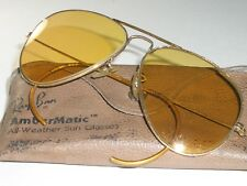 734358e313 1960 s 58  14 VINTAGE B L RAY-BAN WRAP-AROUNDS AMBERMATIC GP AVIATOR