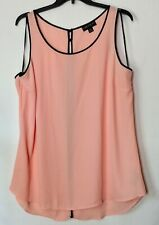 FOREVER 21  Apricot Sheer Sleevless Tunic W/Black Piping/Split Back Plus Size 3X