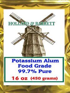 Holland and Barrett Potassium Alum, 16oz (450 grams), Food Grade 99.7% Pure 1 lb