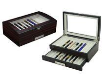 20 Pen slot Fountain Ebony Wood glass Display Case Organizer Storage Box Jewelry