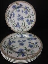 8 Pc Dansk Umbrian Flowers 4 Luncheon / Salad Plates & 4 Rim Soup Bowls