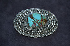 Handmade Sterling Silver & Turquoise Belt Buckle