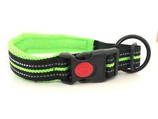 Buckle Lock Reflective Dog Collar Soft Air Mesh Dog Puppy Collars 5 Sizes Green