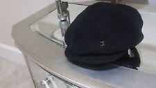 Beautiful Chanel 06A Tweed Black CC logo Beret Hat Silk lining Size M Worn Once!