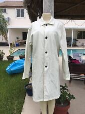PRADA WHITE DENIM LONG BUTTON FRONT OVER COAT JACKET Sz M MADE IN ITALY