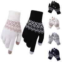 Winter Warm Geometric Knitted Touch Screen Gloves Men Women Full Finger Mitten F