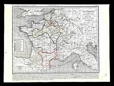 1849 Houze Map France 843-987 Paris Flanders Normandy Gascogne Aquitaine Duchy