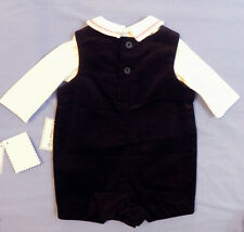Boys Christmas Clothes Shortall Stitched Snowman Penguins Black 0-3 Months New