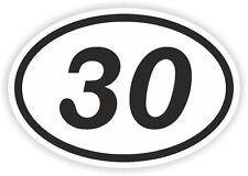 30 Treinta trente número Oval pegatina de parachoques etiqueta Motocross Motocicleta aufkleber