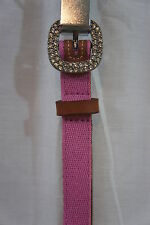Tommy Hilfiger Belt Sz S Pink Canvas Over Bonded Leather Rhinestone Buckle