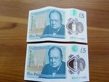 2* AK47 Serial number £5 notes sequential low serial numbers