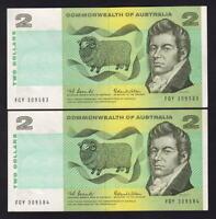 Australia R-81. (1966) 2 Dollars - Coombs/Wilson.. Consecutive Pair..  aUNC