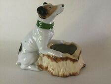 Porcelain Jack Russel Smooth Fox Terrier with Tree Stump Ashtray Japan