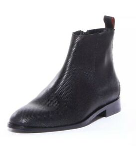 New $695 Hugo Boss Smart-ZipB In Lasered Black Calf Leather Zip Ankle Boots SZ 9