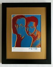 ANDY WARHOL ORIGINAL 1984 SIGNED NUMBERED KEITH HARING PRINT MATTED 11X14