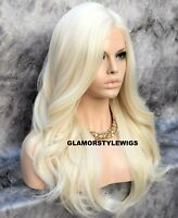 Human Hair Blend Lace Front Full Wig Side Part Long Wavy Platinum Blonde #613A