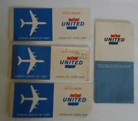 Vintage United Airlines Plane Passenger Ticket and Ticket Holder July 1962