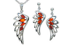 Sterling Silver Angel Wings Set Pendant Earrings Baltic Amber Jewelry Jewellery