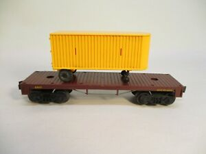 Lionel 6405 Flatcar Unrun with Van Plain Yellow Postwar O Gauge X4657