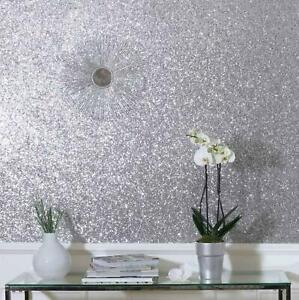 Sequin Shimmer Silver Glitter High Shine Plain Textured Shiny Glamour Wallpaper