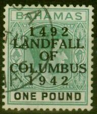 More details for bahamas 1942 £1 dp grey-green & black (thick paper) sg175 v.f.u madam joseph ...
