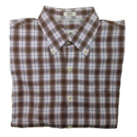 Peter MIllar Men's Large Brown and Pink Plaid Casual Button Up Shirt