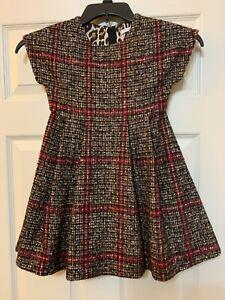 Pre-Owned Dolce & Gabbana Girls Plaid Wool Blend Dress Size 6