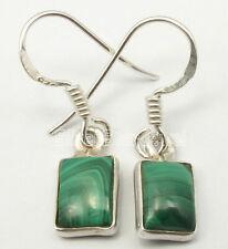 "925 Pure Silver Malachite 3.8 TCW Drop Dangle Earrings 1.1"" Gems Gift"