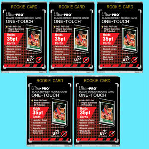 5 Ultra Pro ONE TOUCH MAGNETIC 35PT BLACK BORDER ROOKIE UV Sports Card Cases