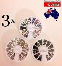 3x Rhinestone Nail Art 3D Crystal Gem Flat Back Glue On Mixed Styles Wheels SET