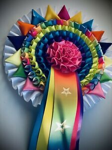 Personalised 6T Rainbow Unicorn Multicoloured Rosette. Horse show, Championship