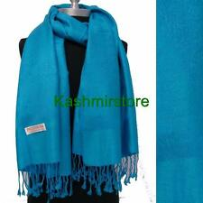 New Pashmina Paisley Floral Silk Wool Scarf Wrap Shawl Soft Turquoise #01