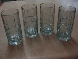 Vintage Anchor Hocking Light Blue Blueberry 4 Iced Tea Tumblers Highball 6 1/8""