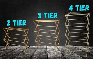 Traditional 2,3,4 Tier Wooden Airer Bamboo Clothes Drying Rack Folding Horse NEW