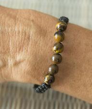 Bracelet amitié fil ciré noir Perles oeil de tigre véritable-ajustable 21184-FS3
