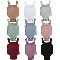 Newborn Infant Kids Baby Girls Solid Ruffles Suspenders Romper Bodysuit Outfits