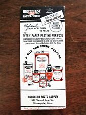 1950s Best Test Rubber Paper Cement Product Northern Photo Supply Ad Blotter MN