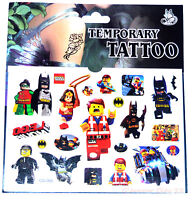 LEGO TATTOO SHEET Childrens Batman Birthday Party Gift Bag Filler Kids Loot