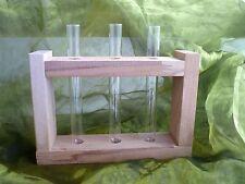Blumenvase aus Holz mit Reagenzglas eckige Form Neu Dekoration