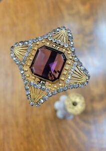 """Antique VICTORIAN Hatpin Openwork Brass Head AMETHYST 64 Rhinestones 11 3/4"""" Pin"""