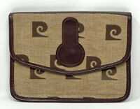 Vtg PIERRE CARDIN Envelope CLUTCH PC Logo Fabric Brown Canvas Designer PURSE