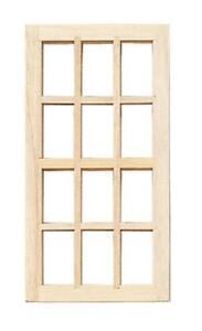 Dolls House Standard 12 Pane Window 1:24 Half Scale Wooden DIY Accessory