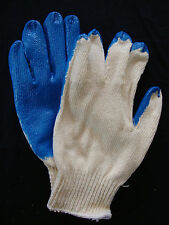 Blue Rubber Latex Palm Coated Work Gloves String Knit Cotton Grip Heavy Duty