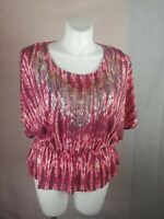 Miss Tina by Tina Knowles Women Perplum  Short Sleeve Blouse XL NWT